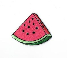 Iron On Embroidered Applique Patch Picnic Food Watermelon Slice Pink Fruit