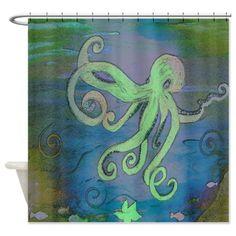 Octopus Blue Shower Curtain on CafePress.com