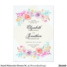 Shop Pastel Watercolor Flowers Wedding Invitation created by PhrosneRasDesign. Personalize it with photos & text or purchase as is! Pastel Wedding Theme, Pastel Wedding Invitations, Watercolor Invitations, Bridal Shower Invitations, Wedding Stationery, Wedding Flowers, Rainbow Wedding, Pastel Weddings, Wedding Bouquets