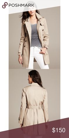 "BANANA REPUBLIC Beige Classic Trench Coat Great condition. EUC. The back has pleats that make the skirt flare out. It's very pretty. Chest: 18 1/2"". Length: 33 1/2"". I'm not sure about selling this. So hurry before I change my mind. Banana Republic Jackets & Coats Trench Coats"