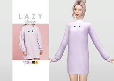 Lazy Dress • New mesh / EA mesh edit • Category: dress (women) • Age: teen / young adult / adult / elder • 5 swatches ​ Download: SimFileShare