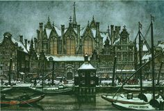 Painting of the Rokin in Amsterdam by Anton Pieck (founder and creative brain of theme park The Efteling). #greetingsfromnl