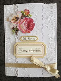 Anna Griffin handmade card. Love the layers of embossing.