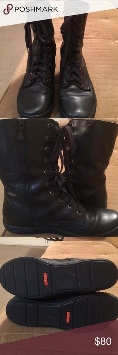 Cole Haan Zippered Combat Boots These boots are in excellent condition. There are scuff marks on the toe that require a little polish but otherwise are like new. The leather is super soft. The footbed has Nike Air. They are from a smoke and pet free home. Cole Haan Shoes Combat & Moto Boots