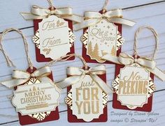 Glammed Up Tags by Diana Gibson - Cards and Paper Crafts at Splitcoaststampers 3d Christmas, Diy Christmas Cards, Stampin Up Christmas, Christmas Gift Wrapping, Christmas Gift Tags, Handmade Christmas, Holiday Cards, Christmas Snowflakes, Xmas Crafts