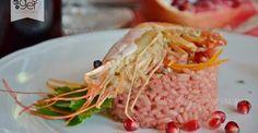 Risotto alla barbabietola con gamberoni alla Vernaccia di san Gimignano, piatto creato da Una blog in cucina (blog.giallozafferano.it)