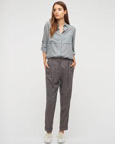 Melange Twill Peg Leg Trousers