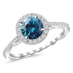 1.4 Carat 14K White Gold Classic Halo Diamond Engagement Ring with a 1 Carat Blue Diamond Center (Heirloom Quality) ** See this awesome image  : Engagement Rings