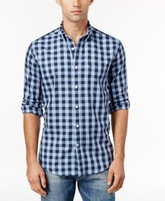 Tommy Hilfiger Men's Big & Tall Archer Check Shirt - Blue XLT
