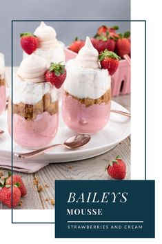 Baileys strawberries and cream hits the uk! Baileys Irish Cream, Strawberry Drinks, Strawberry Recipes, Yummy Drinks, Delicious Desserts, Fancy Desserts, Strawberries And Cream Recipe, Bailey Mousse, Coffee Smoothie Recipes