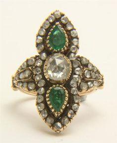 Georgian 3ct Rose Cut Diamond & Emerald Ring