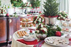 Holiday Open House! Loving this beautiful, traditional Christmas Buffet set up. - Celebrate Magazine