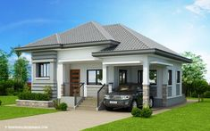 The house in off-white and grey shades has clean with refined edges. This Begilda – Elevated Gorgeous Modern Bungalow House is absolutely amazing. Modern Bungalow House Design, Simple House Design, Modern House Plans, Small House Plans, Bungalow Designs, Small Bungalow, Single Storey House Plans, One Storey House, Two Story House Design