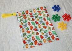 11x14 Robot Print Reusable Wet Bag  Zippered Hanging by WetBagIt, $13.99