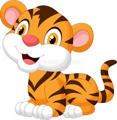 Tiger Cartoon Drawing, Cartoon Drawings, Cute Tigers, Baby Tigers, Crocodile Cartoon, Cartoon Mignon, Baby Animals, Cute Animals, Tiger Images