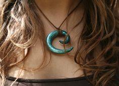 Teal Glitter Spiral Polymer Clay Necklace / Pixie Elf Boho Gypsy Hippy Bohemian Steampunk Festival Fantasy. $13.00, via Etsy.