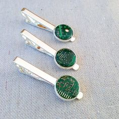 repurposed computer circuit board tie clip   upcycled   computer IT nerd