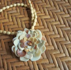 Shell Flower Pendant Necklace Sea Shell Jewelry by tropEEcal