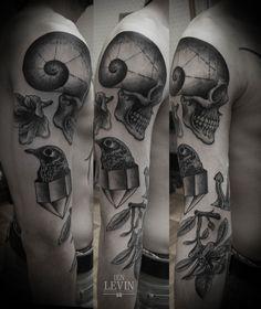 Skull sleeve tattoo by Ien Levin, Kiev    #Skullsleevetattoo  #IenLevin #IenLevintattoos #Skull #ink #inkedboy #imiglioritatuatori #tattooer #besttattooer #tattoo #besttattoo #inkedart #art