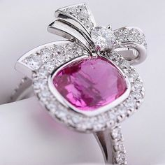 """""""RIBBON"""" RING - COMPAGNIE DES GEMMES  RING BÉRENGÈRE TREUSSARD RING IN WHITE GOLD, DIAMONDS AND 4 CARAT PINK SAPPHIRE GEMSTONE COMPANY"""