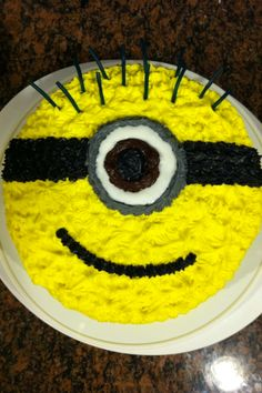 Easy Minion Cake Jetts 5th Minion Birthday party Pinterest