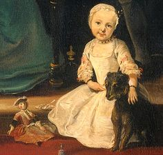 Detail of child with the family dog from Family group at a harpsichord, 1739, by Cornelis Troost (1697–1750). Note the fashionable doll, small silver bell and silver backed hand mirror.