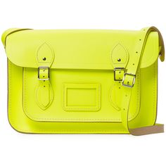 """The Cambridge Satchel Company Women's Medium Leather 13"""" Satchel -... (2.360 CZK) ❤ liked on Polyvore featuring bags, handbags, yellow, real leather handbags, satchel purses, genuine leather purse, leather flap handbags and leather satchel"""