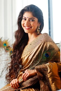 Sai Pallavi in golden saree for vanitha cover . costume by kalista.