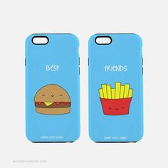 Phone Case Funny Best Friends BFF iPhone Cases Gift For Friend Her Hamburger Fries 7 6 Plus 5 Galaxy Cute Food Birthday Gifts Best Friends.a perfect gift for your best friend, BFF, bestie, Bff Iphone Cases, Bff Cases, Funny Phone Cases, Diy Phone Case, Iphone 8, Christmas Presents For Friends, Birthday Gifts For Best Friend, Friend Birthday, Diy Birthday