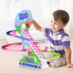 Intellectual Puzzle Assembling Blocks Toy for Children Baby Pig Climb the Stairs Rail Track Electric Light Music Toys Baby Pigs, Electronic Toys, Light Music, Montage, Kids Toys, Puzzle, Electronics, Children, Toys For Toddlers