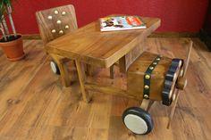 Dětský stoleček a židlička dřevěný letadlo