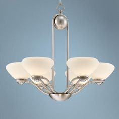 """Contemporary Curves 28"""" Wide Nickel and Glass Chandelier 