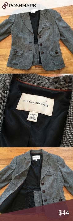 Vintage Women's Banana Republic Wool Blazer - Sz 4 Vintage Women's Banana Republic Wool Blazer - Size 4.  This was pre-owned but not sure if it was ever worn.  Looks new without tags.  REMEMBER:  this is a pre-owned item.  Ask questions before bidding/purchasing.  We do the best we can with our photos to show any flaws or defects if any apply. See something you like but it's not here next week? We sell in store and across multiple platforms, so items go quick! If you're interested, act on it…