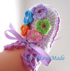 Colorful Daisy Garden Crochet Baby Booties  4 sizes  by MyMayaMade, $19.99