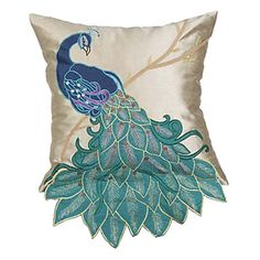 Traditional Peacock Embroidery Polyester Decorative Pillow Cover – CAD $ 27.97