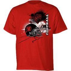 Utah Utes Pac 12 Black Helmet NCAA Youth T-Shirt (Red)
