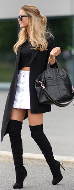 Latest fashion trends: Edgy look | Black crop top, button up white skirt, over the knee boots and black coat