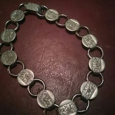 Sarah Coventry Vintage Bracelet Silvertone with detailed flower inscription Sarah Coventry Jewelry Bracelets