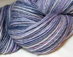 Handspun Yarn Thick and Thin Single Blue faced by SheepingBeauty, $34.00