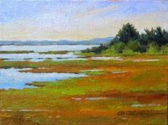 """Daily Paintworks - """"Chappaquiddick Marshes An Original Oil Painting by Claire Beadon Carnell 30 Paintings in 30 Days C"""" - Original Fine Art for Sale - © Claire Beadon Carnell"""