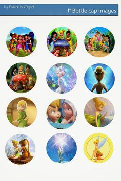 Free Bottle Cap Images: Tinkerbell free digital bottle cap images