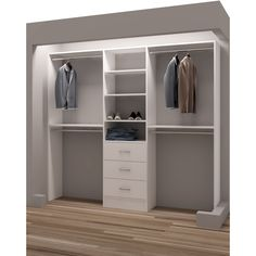 Organize shoes, clothes, and accessories and make the most of your closet space with this reach-in closet organizer. This reach-in closet organizer has six shelves, three drawers, and four closet rods