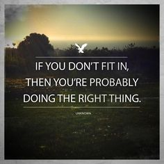 """""""If you don't fit in, then you're probably doing the right thing."""" Unkown"""