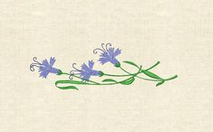 Machine embroidery cornflower carnation wild flowers