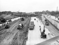 November 19, 1959 The eastbound lanes of the new Mark Twain Expressway were opened between Palm and O'Fallon Park. The highway was now complete from Palm and Branch to Locust Street downtown. Photo is from June, 1959. On July 28, 1961, a ribbon-cutting opened the last four-mile stretch, from near Salisbury Street to west of Kingshighway.