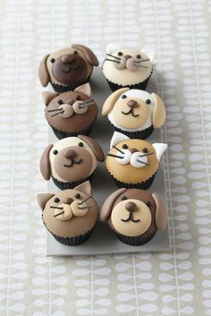 Cute puppy dog ​​and kitty cupcakes - Cake Decorating Cupcake Ideen Cupcakes Design, Cupcakes Chat, Cookies Cupcake, Cupcake Day, Animal Cupcakes, Puppy Cupcakes, Blue Cupcakes, Baking Cupcakes, Decoration Patisserie