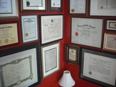 """Diploma Wall...must create an """"I Love Me"""" wall above our desk!!"""