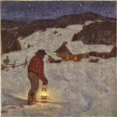 Capture One's Imagination - Clarence Alphonse Gagnon, 1881 - 1942 Eutrope. Painting Snow, Winter Painting, Winter Art, Canadian Painters, Canadian Artists, Nocturne, Christmas Past, Christmas Lights, Illustrations