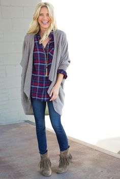 cardigan and flannel shirt