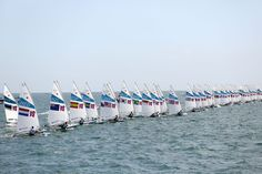 Lining up for the start of the Men's Individual One Person Laser race at Weymouth & Portland.